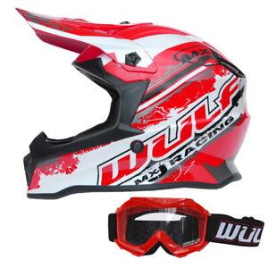 Wulfsport Cub Pro Kids Motocross Helmet + Childrens Goggles MX Red Off  Road