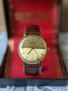 Gents Vintage Gold Plated Slim Sekonda Boxed Baton Indexes USSR Watch - Working