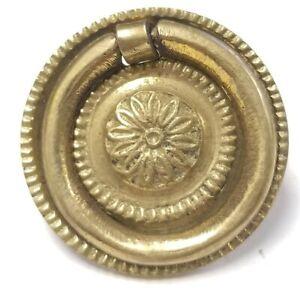 Single Vintage Brass Drawer Pull Hardware Floral Sunflower Ornate