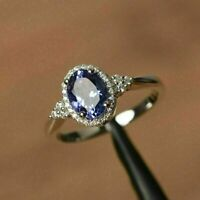 3.35Ct Oval-Cut Blue Sapphire Diamond Halo Engagement Ring 14K White Gold Finish