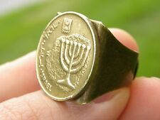 Men Ring Authentic Israel coin Holy land  Menorah Jewish nice  gift for Hanukkah