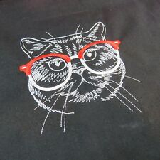 Black Cat Tote Bag Crazy Cat Lady Woman Fun Animal cat wearing glasses embroider