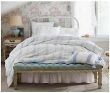 Simply Shabby Chic 3 pc KING Duvet Cover Set Blue White 100% Cotton NEW