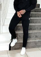 GYM KING Mens Jersey Lounge Lightweight Slim Designer Jogging Bottoms Black