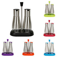 Evelyne Stainless Steel Oil Vinegar Soy Sauce Dispensers Set with Tray