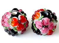 10pcs handmade Lampwork glass round Beads black pink flower 15mm