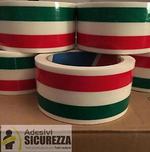 6 rotoli adesivi decorazione dai da te Tricolore bandiera Italiana 50mm x 66MT