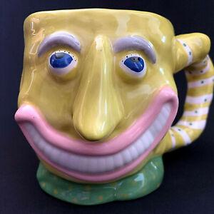Judie Bomberger Neon Yellow Hand Painted Ceramic Coffee Mug 16 oz Grinning Smile