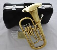 High-Grade 3 Piston Baritone Horn B-Flat Gold Brass Brand New With Case