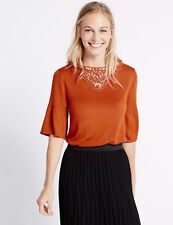 BNWT M&S COLLECTION Lace Trim Slash Neck Flute Sleeve Jumper 10 UK Tangerine