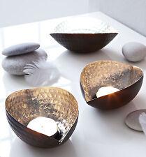 Teelichthalter Ellipse 4er Set silber/schwarz Eisen Kerzenhalter Teelicht #