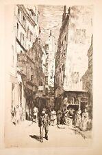 Eau-forte charles Huard, Paris, la rue brise-miche, vers 1900