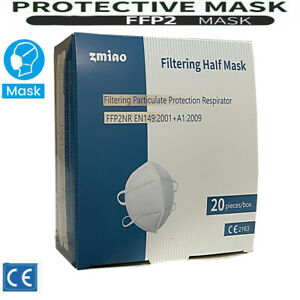 20X FFP2NR Face Mask Face Cover Breathable Reusable Prevention Anti Bacterial