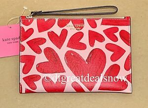 NEW KATE SPADE SPENCER EVER FALLEN SMALL WRISTLET TUTU PINK WITH RED HEARTS