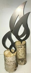 Edelrost Deko Flamme Metall Stahl Garten Schmuck Kerze Flammen Rost Set