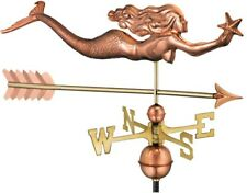 Weathervane Mermaid with Starfish and Arrow Design Roof Mounted Pure Copper