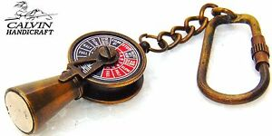 ANTIQUE SOLID BRASS TELEGRAPH KEY RING NAUTICAL VINTAGE KEY CHAIN BRASS GIFT