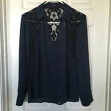 NWT New GUESS L/S Navy Blue Eve Lace Brocade Sexy Shirt Buckle Top Sz XS $79