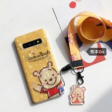 Cute Winnie pooh bear strap soft case Cover for Samsung galaxy S20+ S10+ note 9