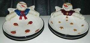 Sonoma Life Styles Country Angel Snowman STARS & BALLS 2 Candy Trinket Dishes