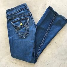 TRUE RELIGION Womens Jeans Size 27 Flare Distressed Flap Pockets