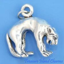 HEAVY MOUNTAIN LION PANTHER PUMA COUGAR BIG CAT 3D .925 Sterling Silver Charm