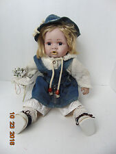 "Cathay Collection Baby Girl Dress and hat jeans Doll 16"" Porcelain"