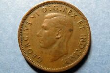 1947 CANADA, KING GEORGE VI ONE CENT COPPER COIN, 1st of King George VI Coins