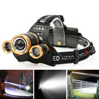 Bright 30000LM Zoomable XML T6 3LED Lampe frontale Phare Taschenlampe 18650