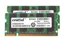Crucial 4GB Kit 2x 2GB 2RX8 PC2-6400 Memory RAM Laptop SODIMM Intel DDR2 800Mhz
