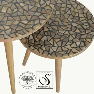 Tree Trunk Carving Set of 2 Side Tables