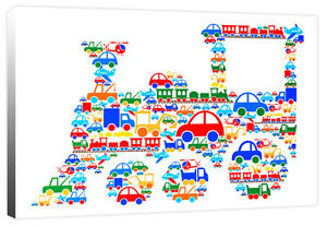 Train of Vehicles - Car Digger Plane Truck Lorry - Boys Canvas Art Print Picture
