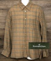 Ermenegildo Zegna Men's Brown Plaid Wool Cotton Blend L/S Button Front Shirt L