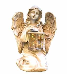 Solar Powered Fairy Angel w/ Wings and Solar Glowing Jar LED Garden Light Decor