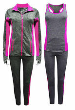 New Women's Grey-pink 3Pc Tracksuit Gym -Top+Jacket+Yoga Pants - UK 8/10