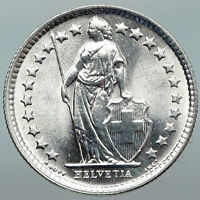 1964B SWITZERLAND HELVETIA Symbolizes SWISS Nation SILVER 1/2 Francs Coin i88413