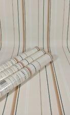 Carey Lind York Fine Wallpaper Cream Beige Brown Green Thin Stripe 3 Roll Lot
