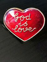 Collectible Vintage God is Love Heart Colorful Metal Pinback Hat Pin Lapel Pin