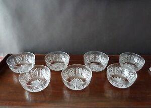 7 Antique Crystal Finger Bowls, Art Deco 1920's