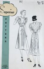 Vtg 1930s Sears Superior 512 Sash Tied Flared Cowl Neck Dress Sewing Pattern 12