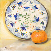 Colorful Plate and citrus Still Life home decor oil painting 8 x 8 inch