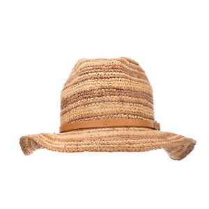 RRP €120 WOOLRICH JOHN RICH & BROS Straw Fedora Hat Size S Woven Leather Band