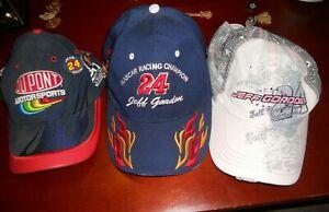 Lot of 3 Jeff Godon NASCAR Hats Plus 12 Pins
