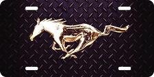 airbrushed aluminum mustang horse diamond plate car tag  license plate