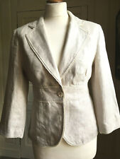 LK Bennett UK10 stone colour 100% linen fitted waist length jacket blazer