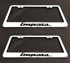 2x IMPALA STAINLESS Chrome License Plate Frame w/screw Caps