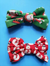 TWO SMALL WINTER AND CHRISTMAS DOG BOW TIES WITH ELASTIC LOOPS