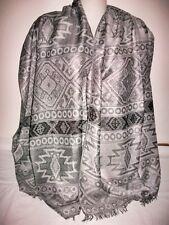 Tuch Schal Stola Umhang Ethno grau silbergrau 178 x70cm ganzjährig edel Neu
