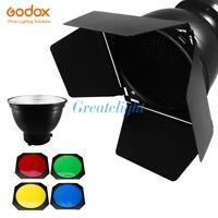 Godox Barn Door Honeycomb Grid 4 Color Filter + Bowens Mount Reflector for Flash