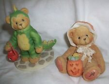 ENESCO Cherished Teddies LOT REX Green Dinosaur CONNIE PUMPKIN HALLOWEEN Costume